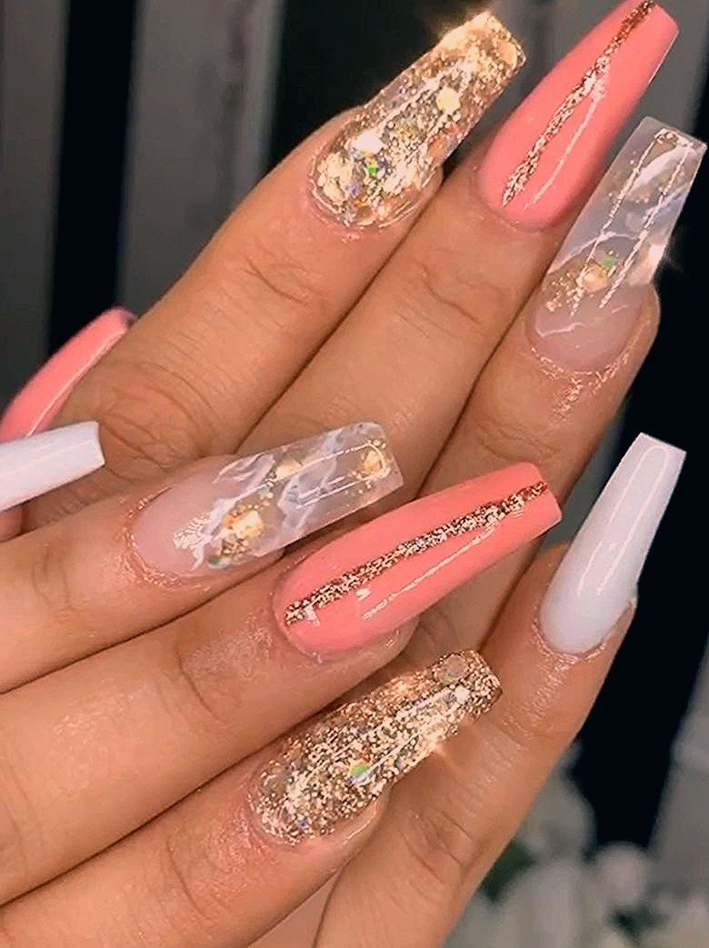 Glitter & Marble Coffin Nails