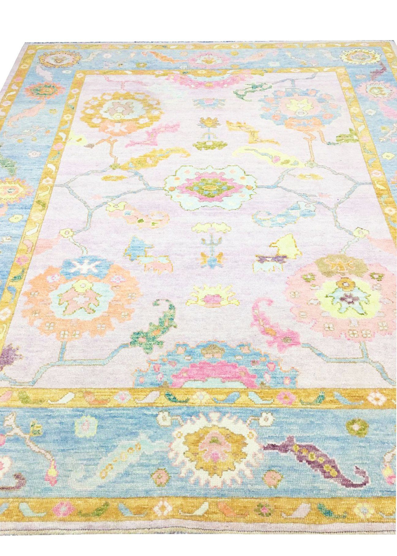 Hand Knotted Oushak Area Rug 20 Rugs Area Rugs Multicolored Rugs