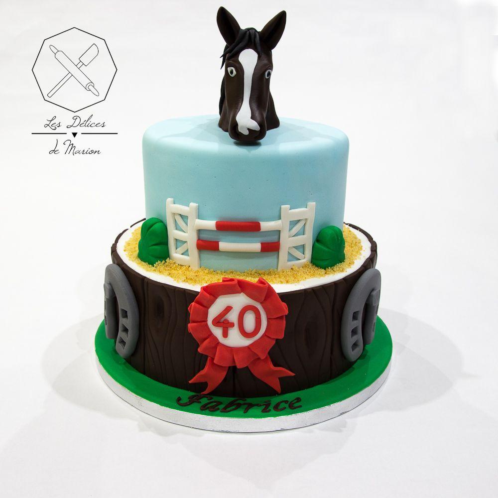 Cake design g teau personnalis en p te sucre sur le th me cheval equitation concours saut d - Decoration gateau cheval ...