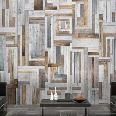 Papier peint design labyrinthe bois gris patiné