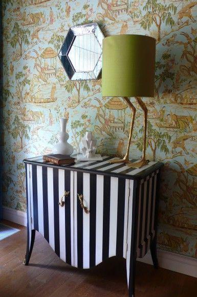 stripes + wallpaper + lamp base = amazing