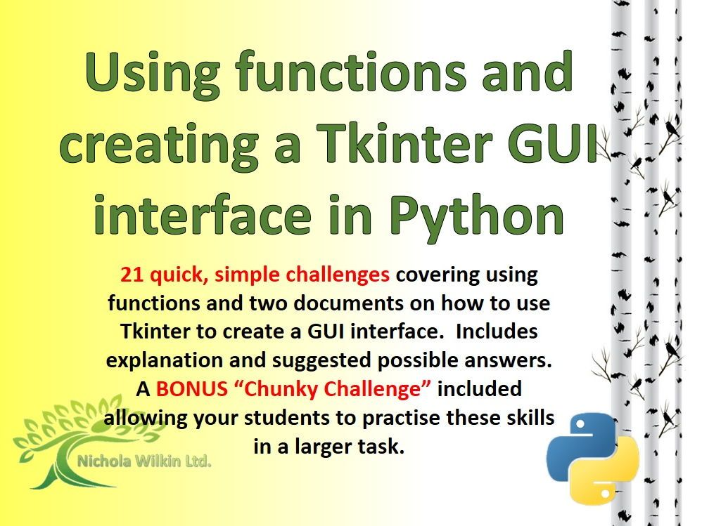 21 quick, simple challenges covering using functions and two