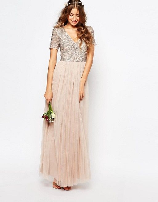 13b5d4d193d Maya Tall V Neck Maxi Tulle Dress With Tonal Delicate Sequins in ...