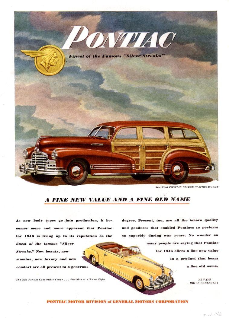 1946 Pontiac Ad | Pontiac Car Ads | Pinterest | Station wagon ...
