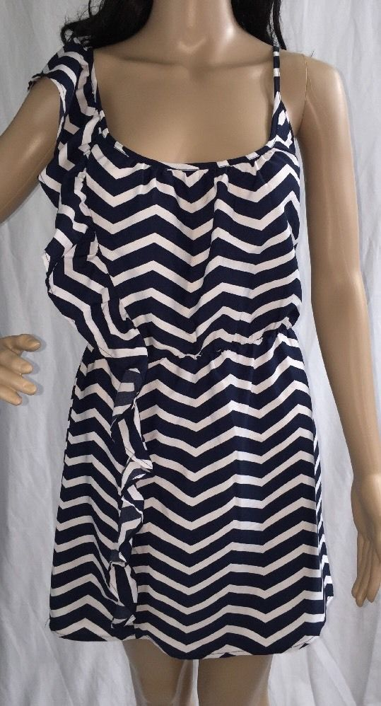 2320a8ab583 Navy Blue White Dress Small Chevron Striped Sundress Sexy Ruffled Nautical  Style  Unbranded  Sundress  Casual