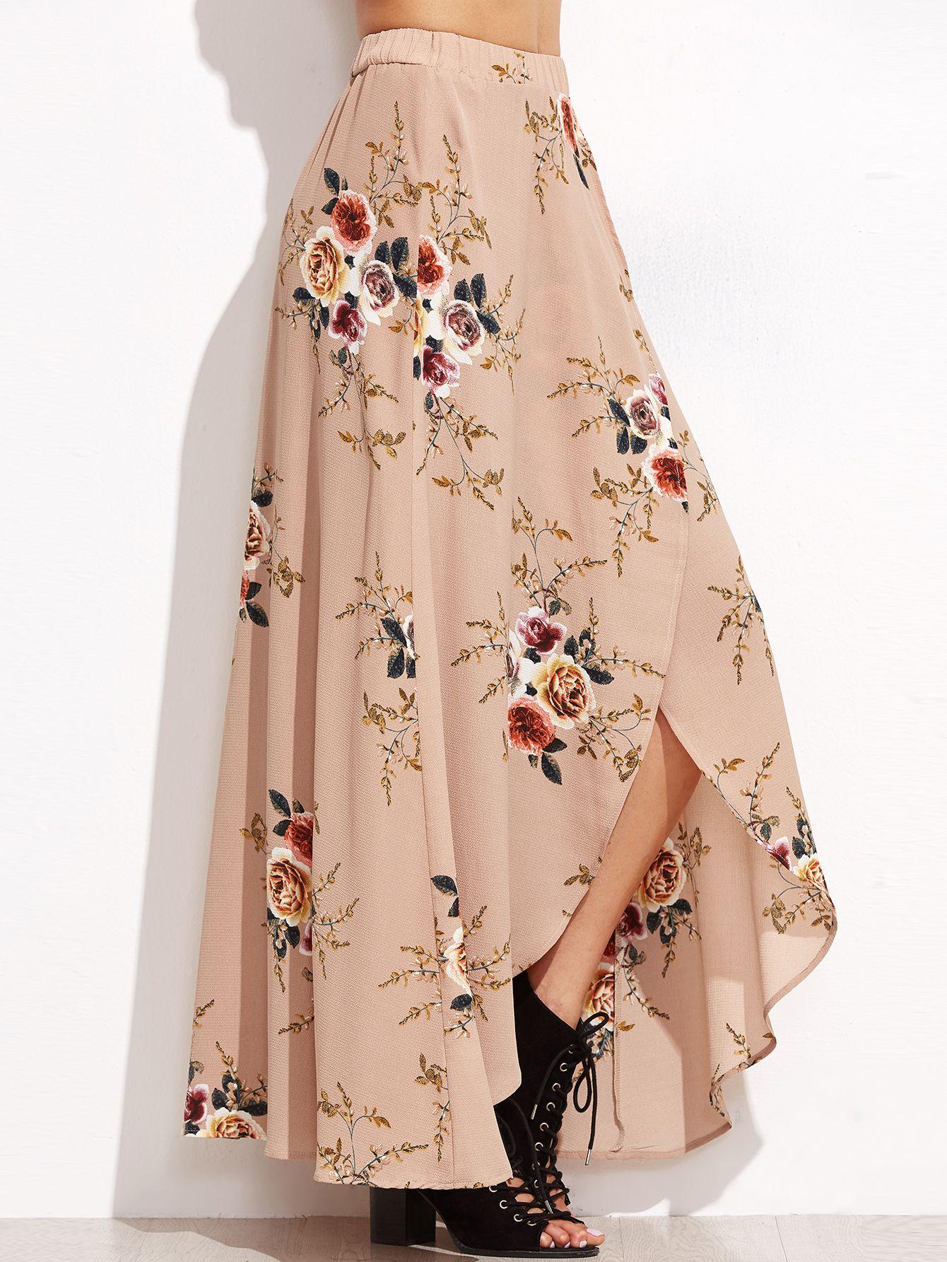 2a30753765 Falda maxi asimétrica con estampado floral - rosa -Spanish SheIn(Sheinside)