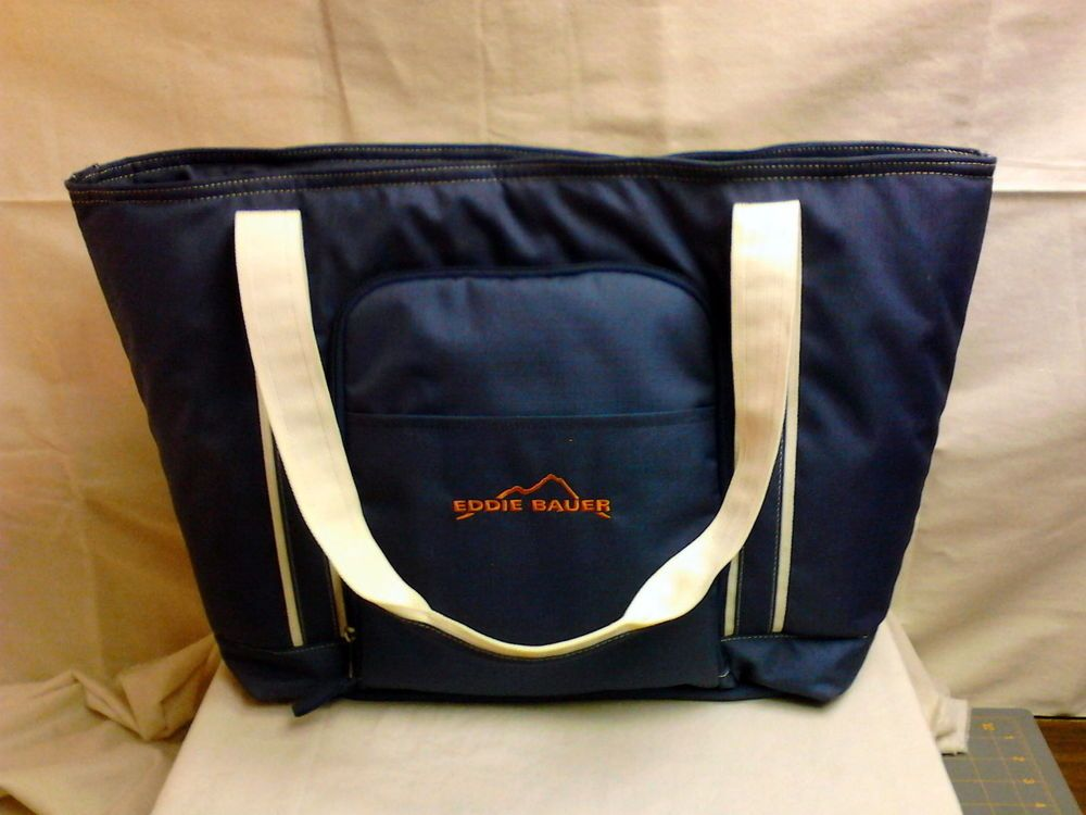 Ed Bauer Insulated Cooler Picnic Tote Lunch Basket Wine Tailgate Bag Blue