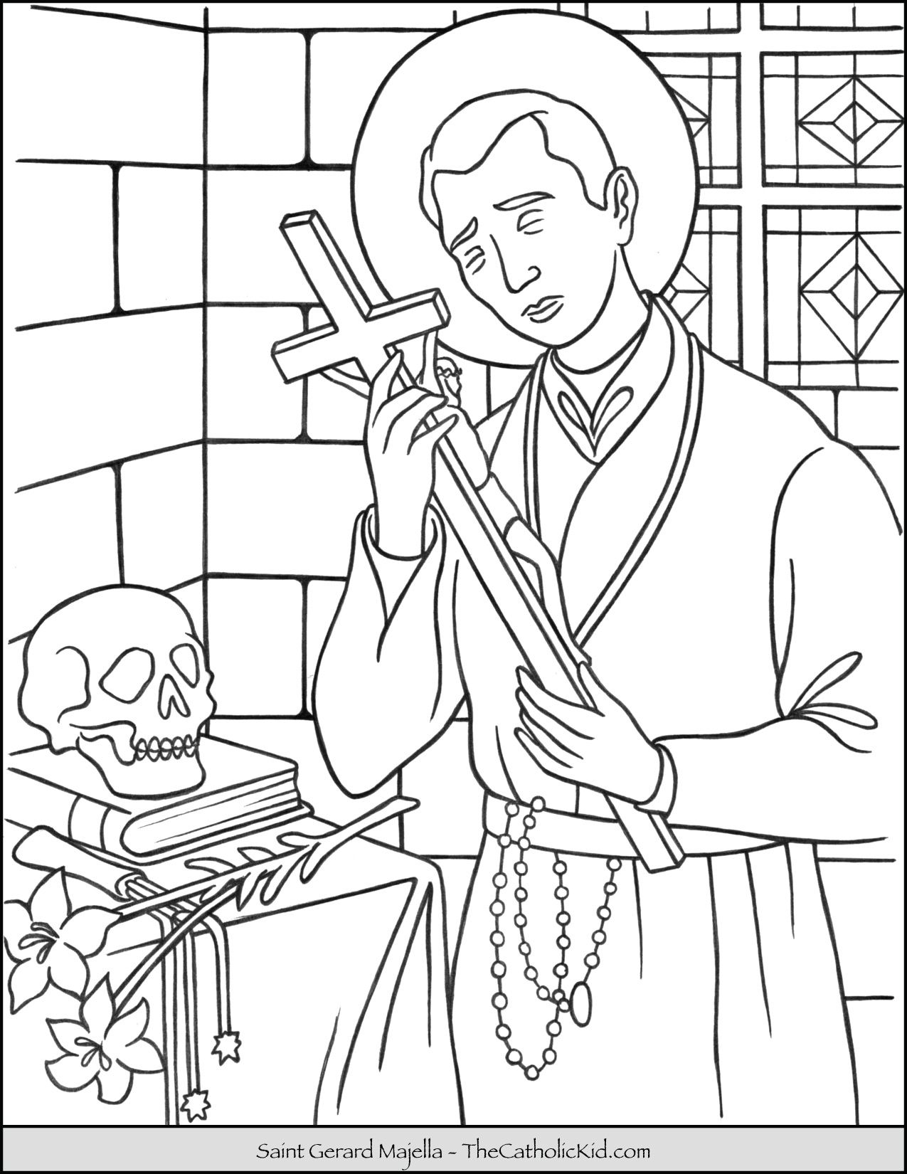 Saint Gerard Majella Coloring Page Thecatholickid Com St