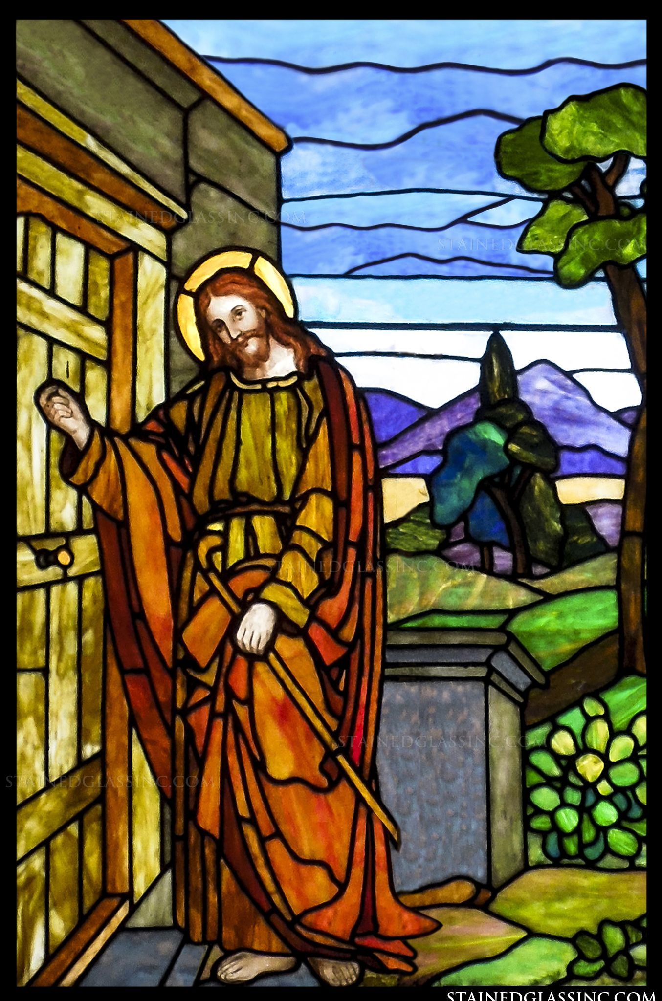 Quot Jesus Is Knocking Quot Religious Stained Glass Window