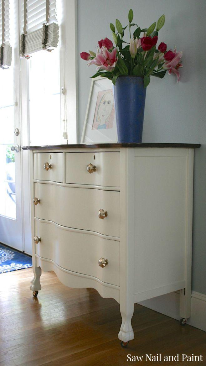 Antique White Serpentine Dresser Side 2