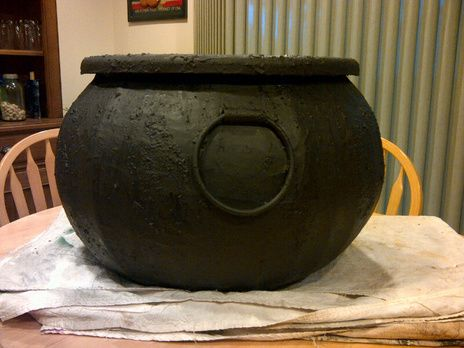 how to make a large cauldron out of a cheap plastic bucket very cool mostly for halloween i guess but im actually using this for harry potter props