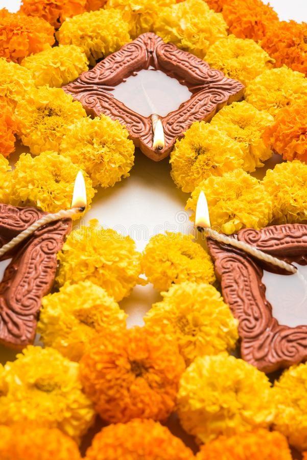 Flower rangoli for Diwali or pongal or onam made using