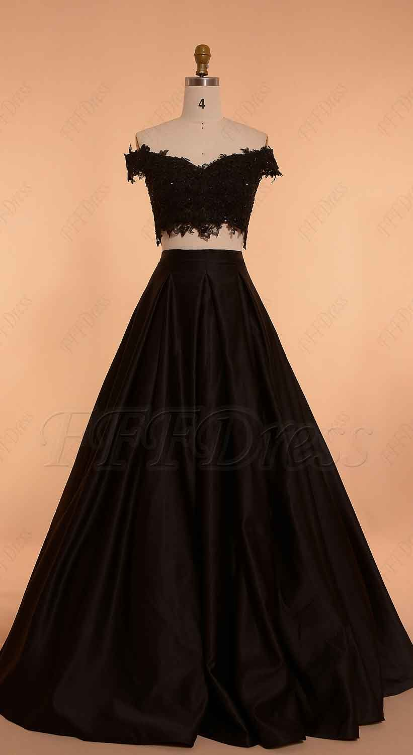 Off the shoulder Black Ball Gown Two Piece Prom Dress Long ...