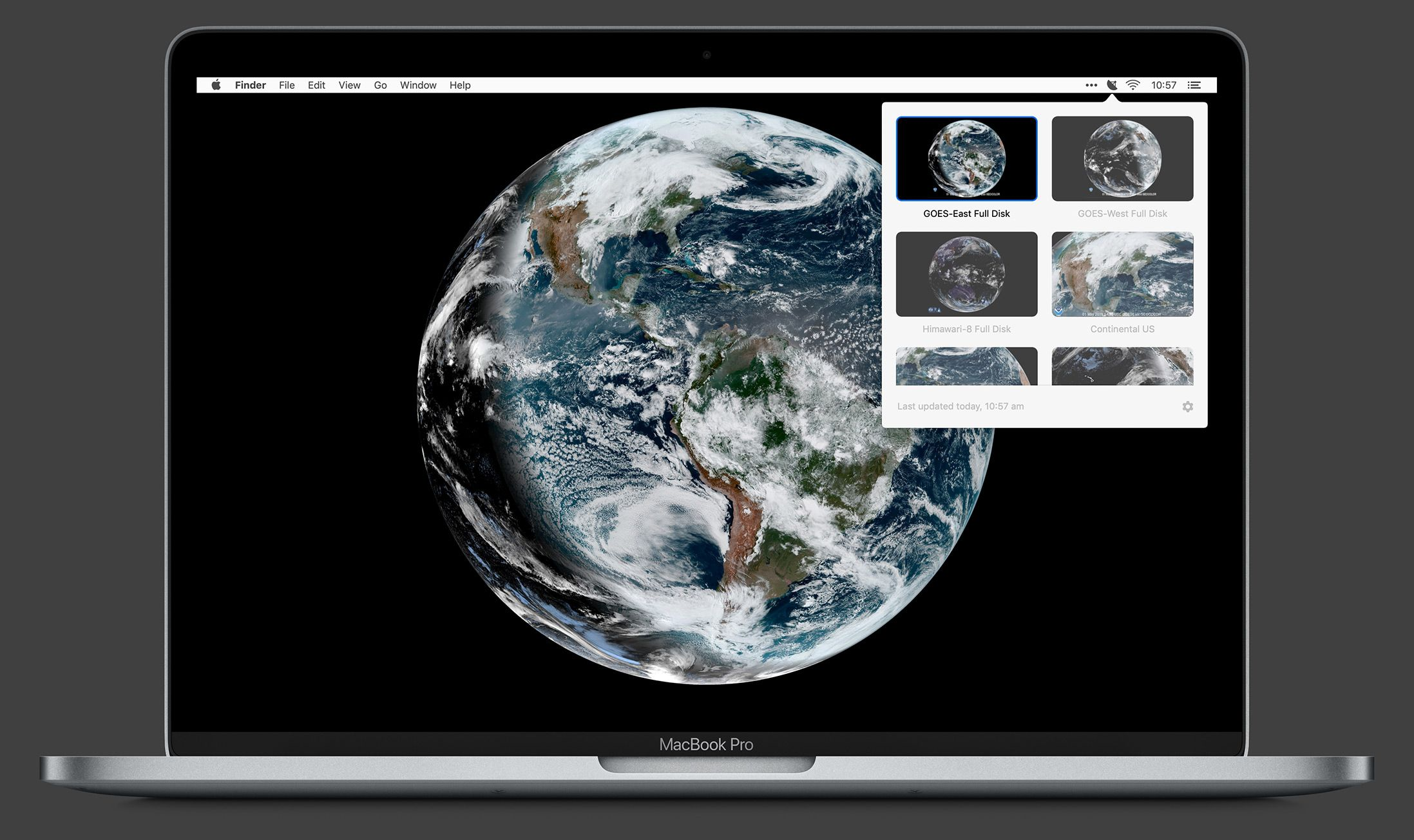 Realtime satellite imagery on your desktop.