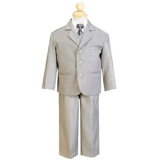 LITO- -5 Piece Light Gray Suit with Shirt, Vest, and Tie
