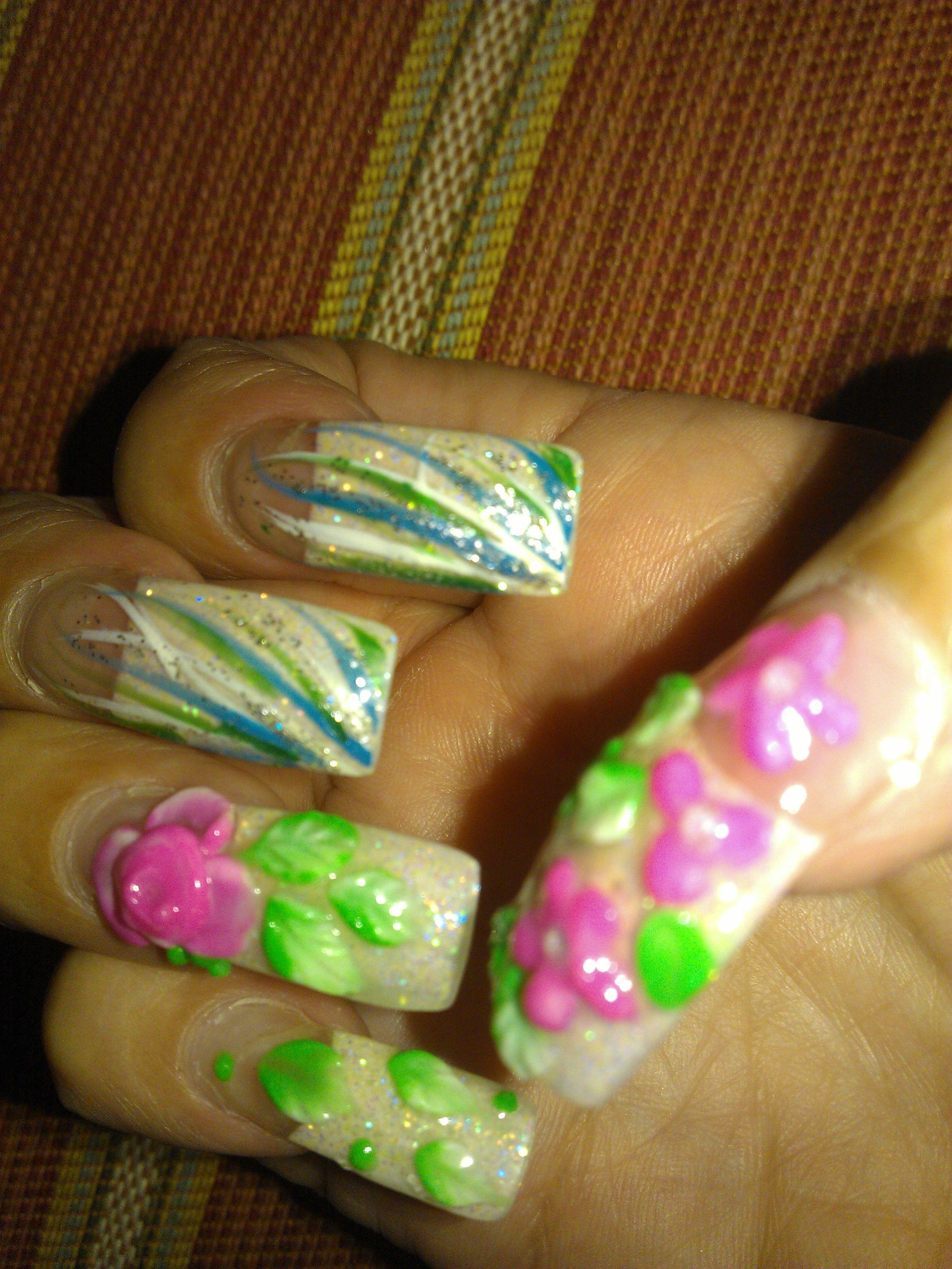 3D multi-color nail art by Winnie. Beautiful! | Winnie @ DaVi Nail ...