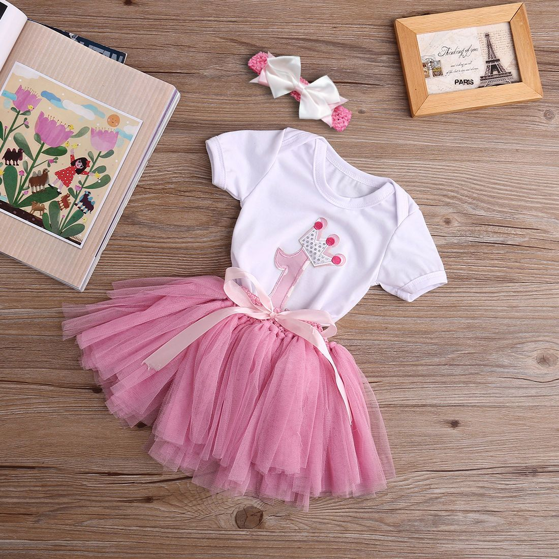 Baby Girls 1st Birthday Princess Sleeveless Floral Romper Tutu Skirt Outfit