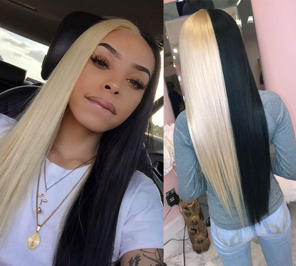 Silky Straight Human Hair Lace Front Wig Half Blonde And