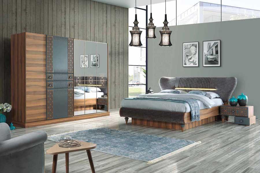 Celmo Antik Yatak Odasi Takimi Ceviz Gri Bed Room
