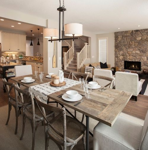 modern rustic open concept kitchen/dining | Cozy open concept ...