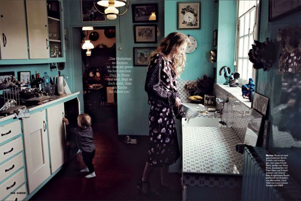 Marina Skopkareva celebrates the joys and challenges — aka chaos — of motherhood in Camilla Armbrust's intimate, at home editorial for Glamour Germany's February issue. Stylist Katharina Muller-lutz chooses pared-down fluidity of a romantic nature as a reminder that inside every mother is a woman who delights.