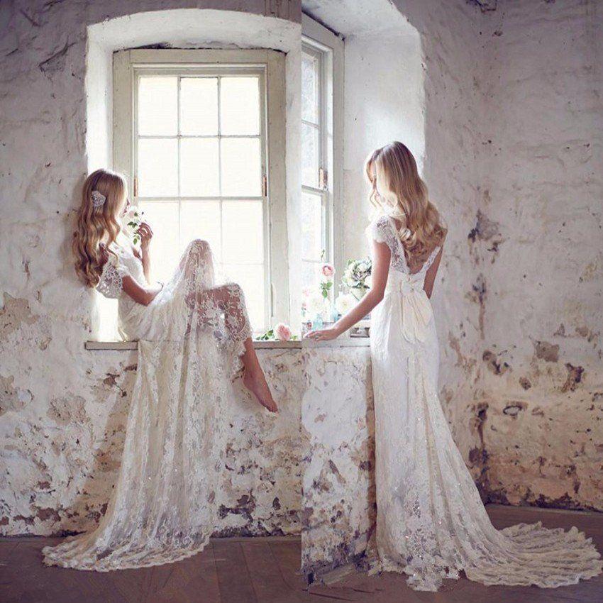 Anna Campbell 2019 Wedding Dresses: Robe De Mariage White Lace Backless Boho Wedding Dresses
