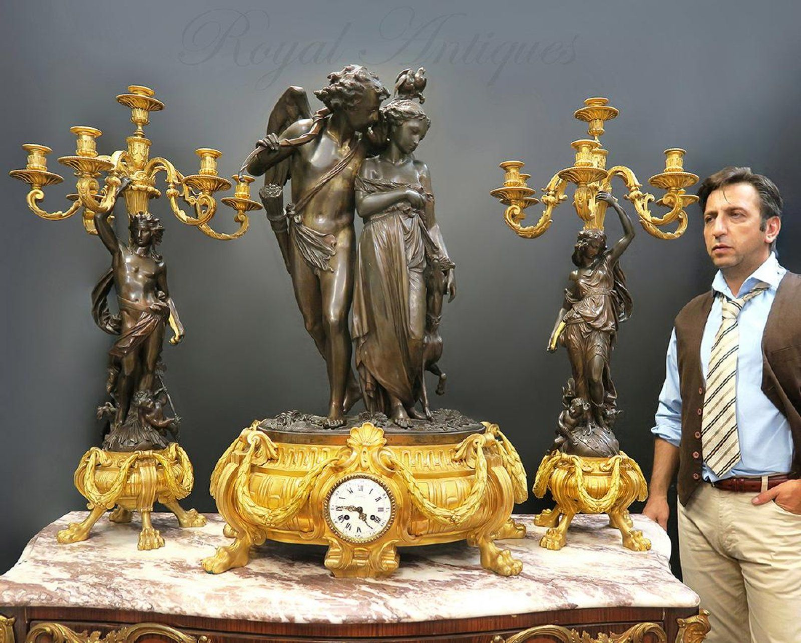 Pair of Neoclassical Style Gilt and Patinated-Bronze and