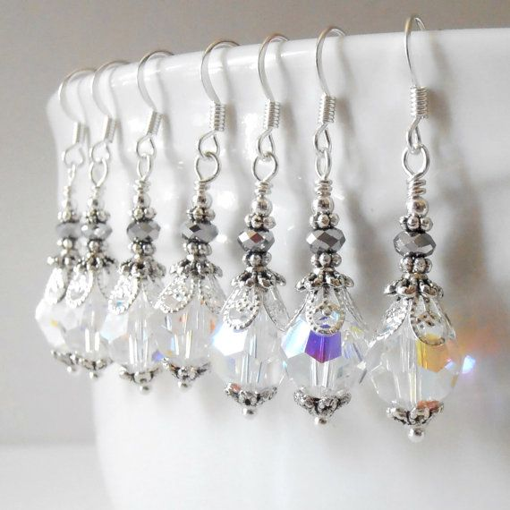 Clear Crystal Bridal Earrings in Antiqued Silver by FiveLittleGems, $16.00
