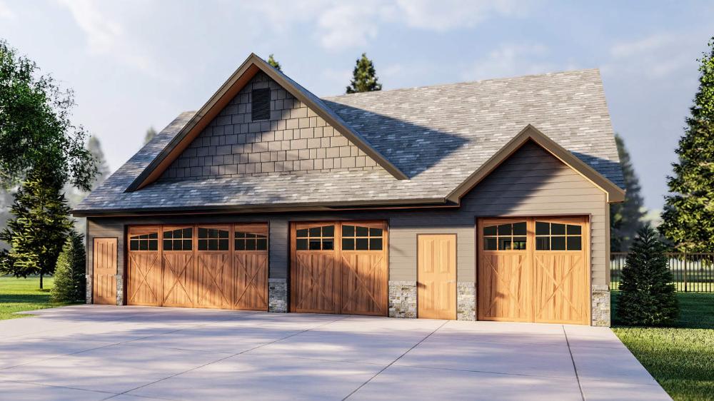 Craftsman Style 4 Car Garage Stewart In 2020 Garage Plans With Loft Wood Garage Doors Garage Plans Detached