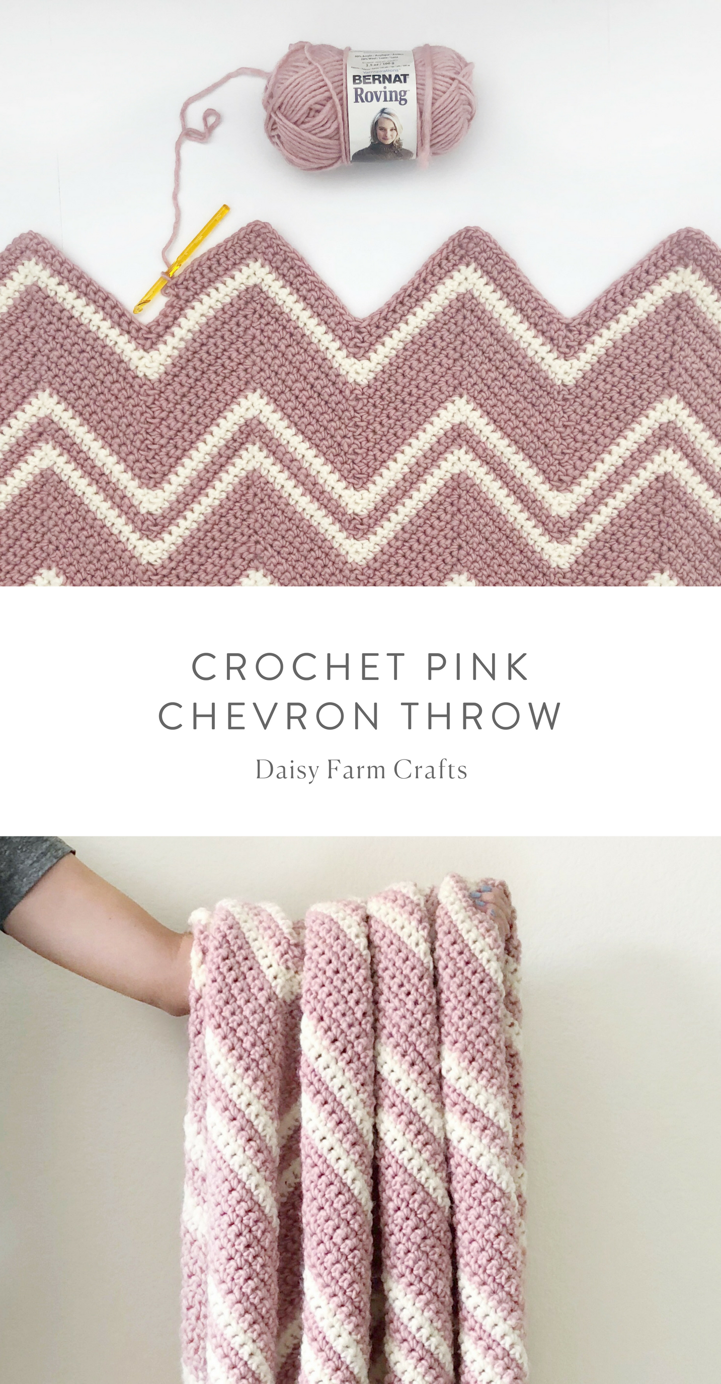 Free Pattern - Crochet Pink Chevron Throw #crochet | Babytæppe ...