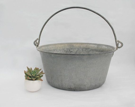 Galvanised hanging planter cauldron, Outdoor metal planter, Farmhouse antiques french country style