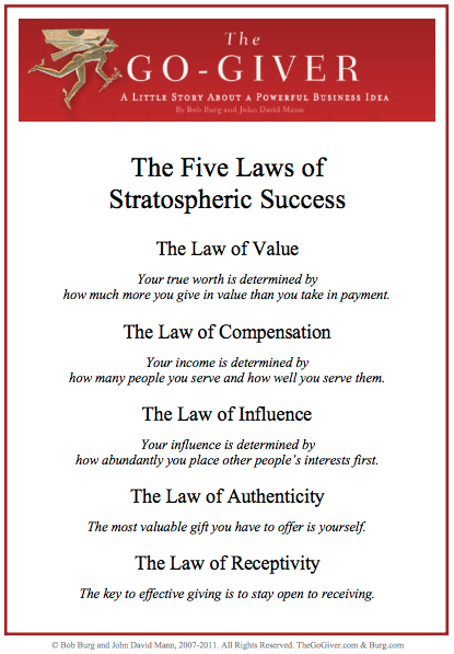 The five laws of stratospheric success from the go giver i am the five laws of stratospheric success from the go giver i am going to try my best to live by these laws fandeluxe Gallery