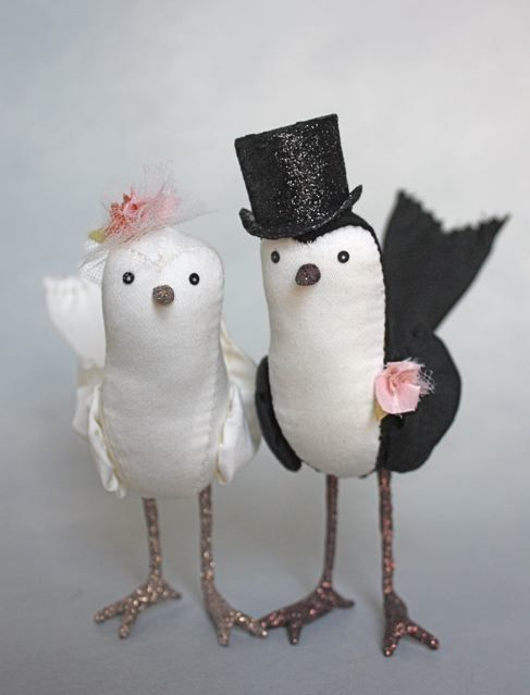 bird cake toppers by ann wood #wedding