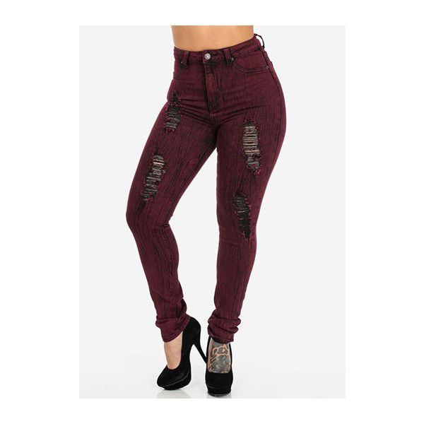 Burgundy High Waisted Ripped Skinny Jeans ❤ liked on Polyvore ...