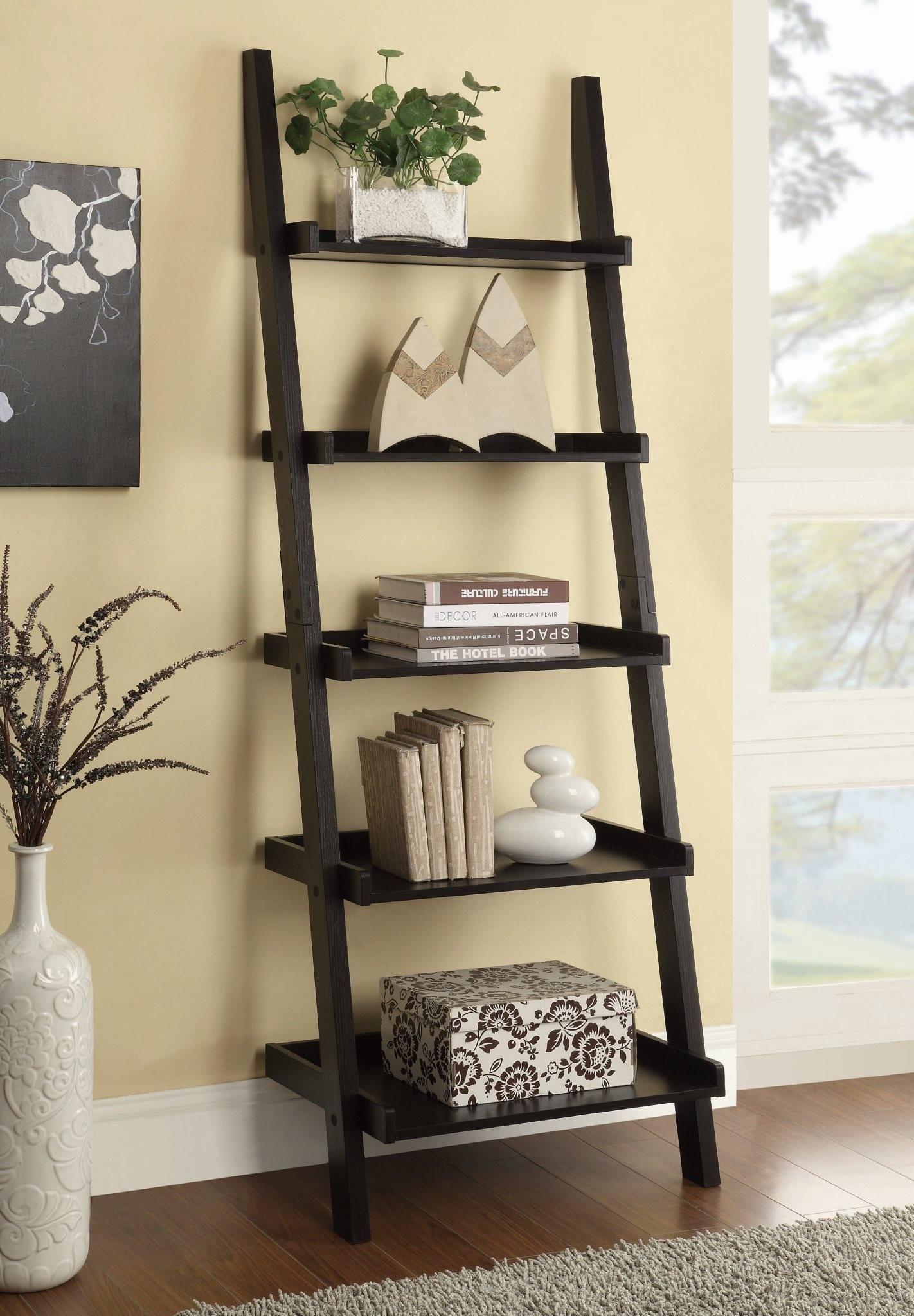 bookcase shoptv detail shelf mainstays bookcases leaning ladder espresso