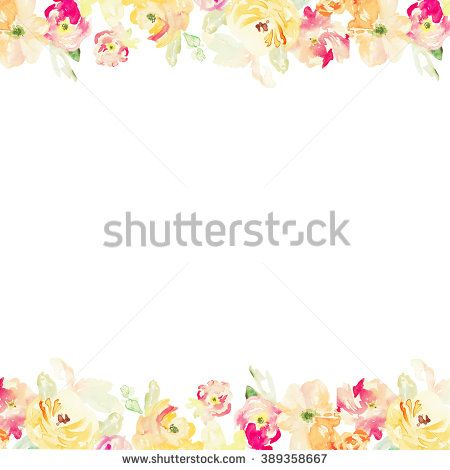 Red And Orange Watercolour Flower Border Watercolor Cute Background