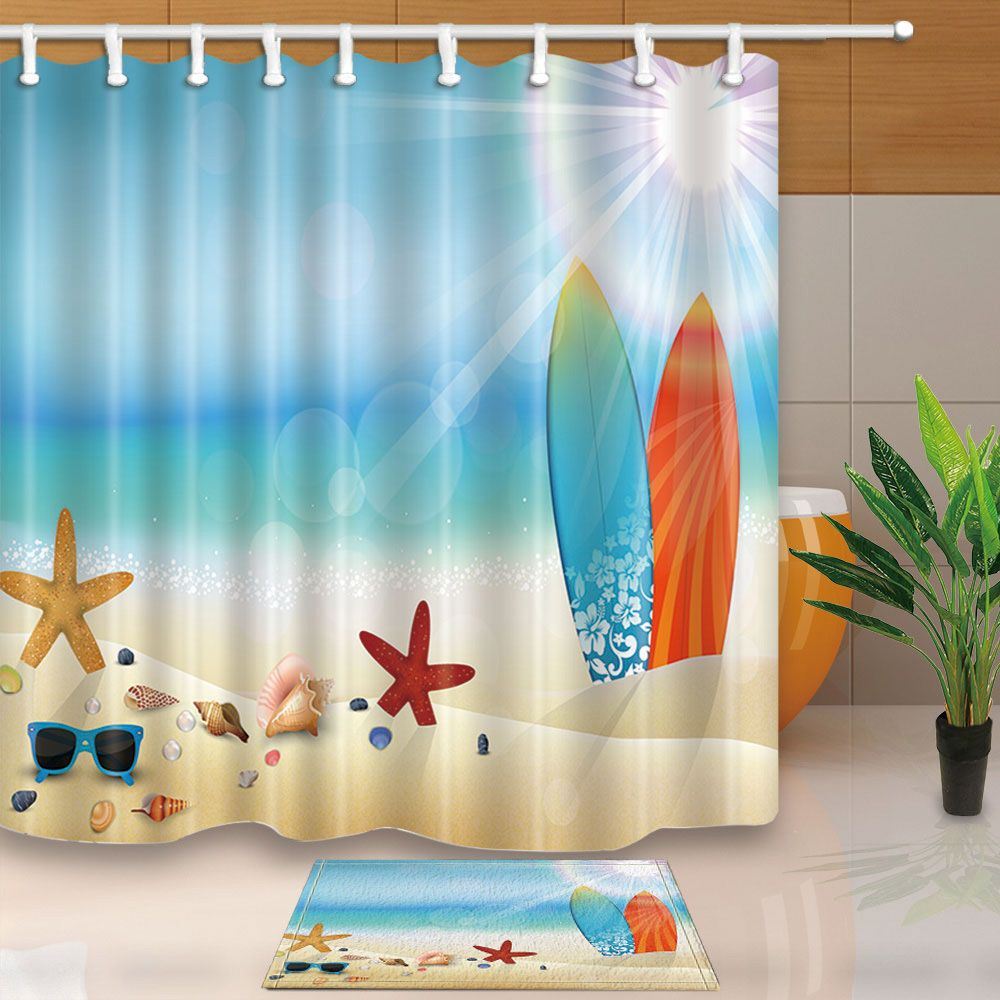 71 Bathroom Waterproof Polyester Fabric Shower Curtain Beach