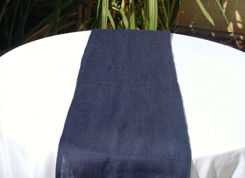 Burlap Table Runner Navy Blue By Lolarosedesigns