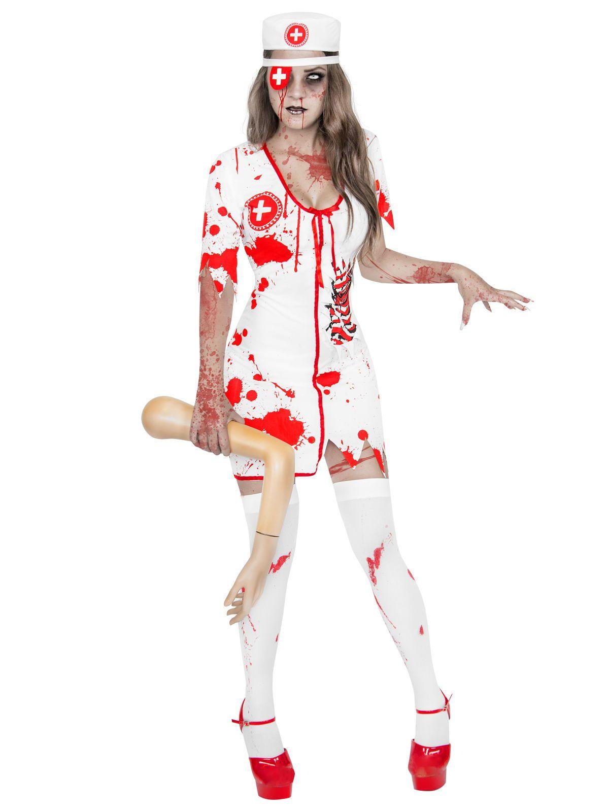 zombie-krankenschwester halloween-damenkostüm weiss-rot. aus der