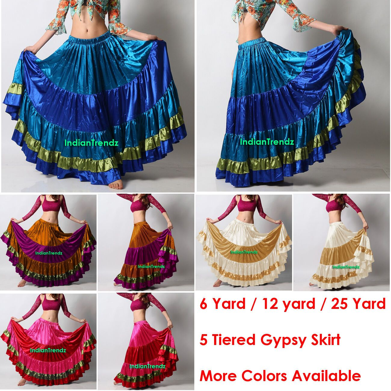 Mix Color Satin 6-12 25 Yard Tiered Gypsy Skirt Belly Dance Flamenco Ruffled