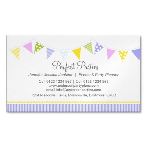 Bunting party event planning business card business pinterest bunting party event planning magnetic business card template cheaphphosting Choice Image