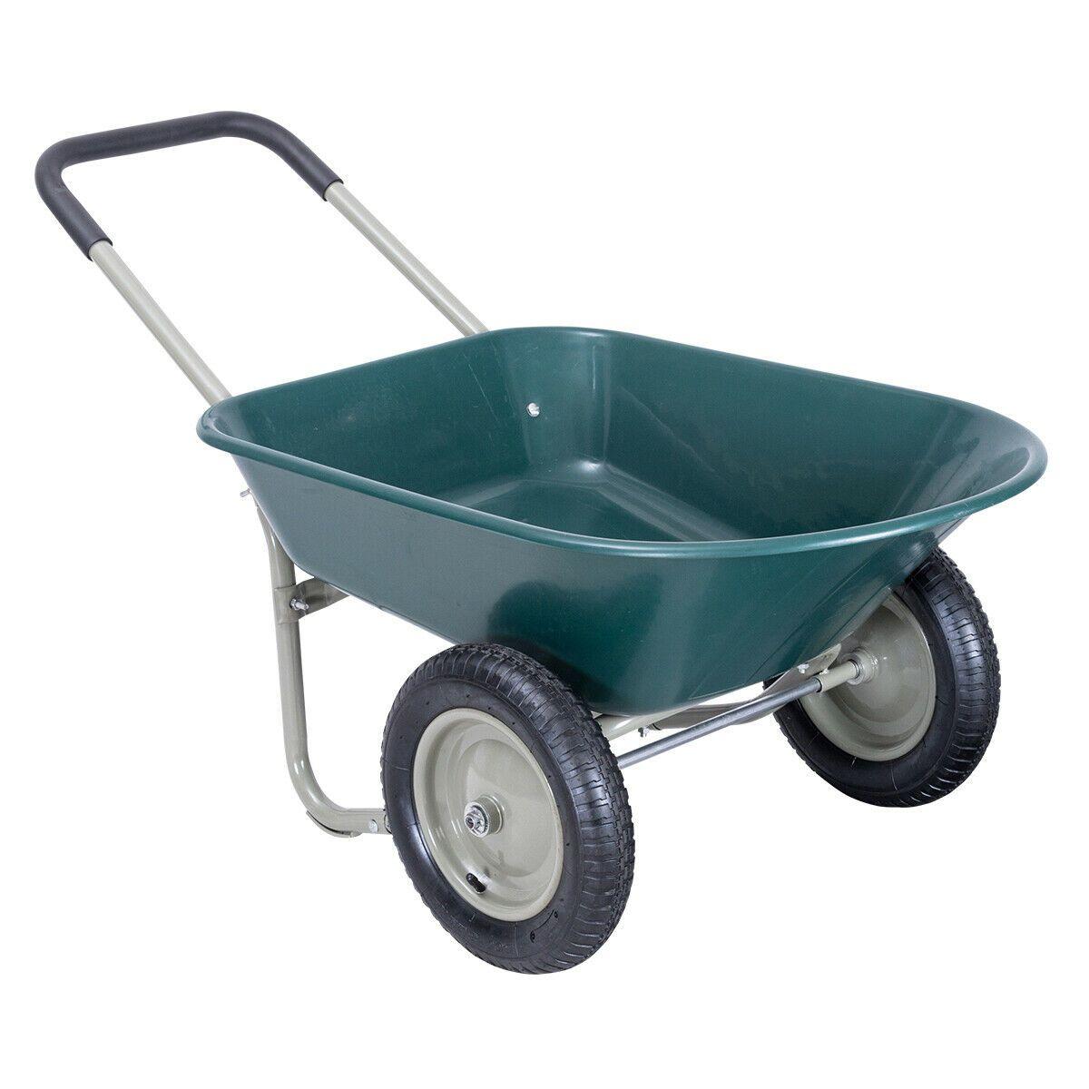 2 Tire Wheelbarrow Garden Cart Heavy Duty Dolly Utility Cart In