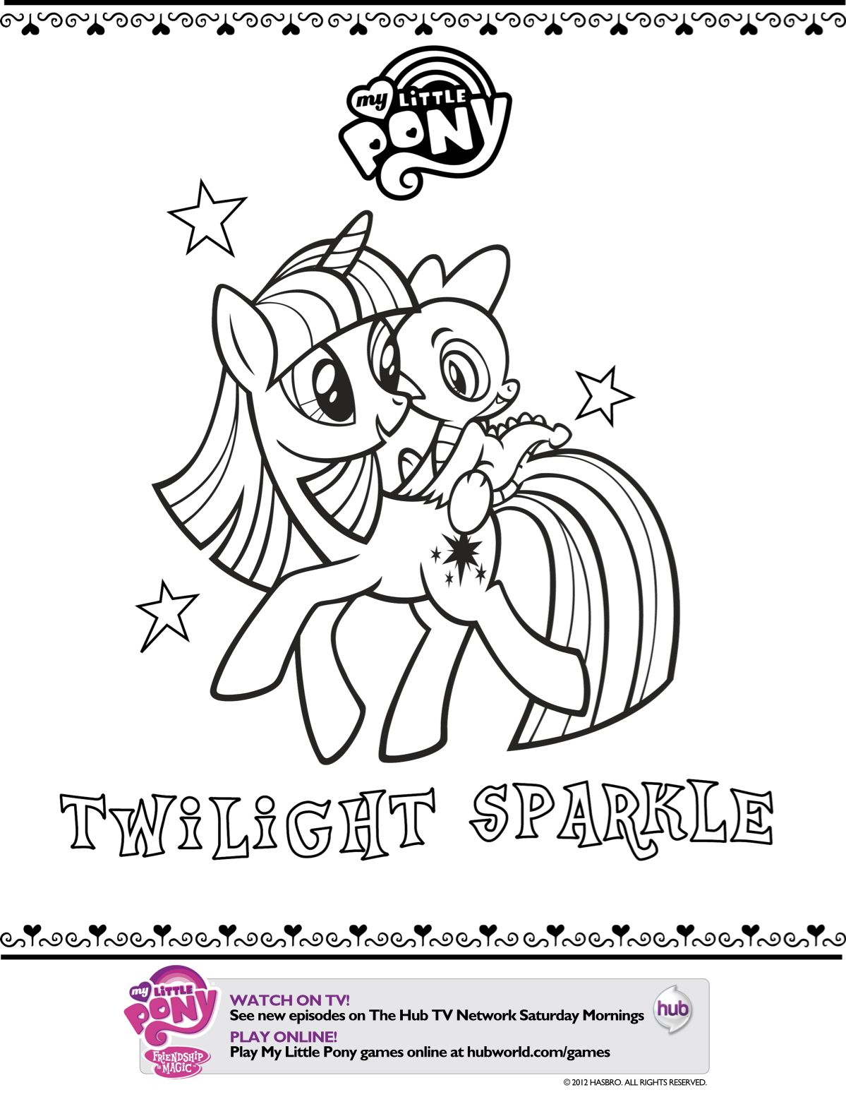 My little pony friendship magic coloring pages print - Mlp Printable Coloring Pages My Little Pony Twilight Sparkle Printable Coloring Page