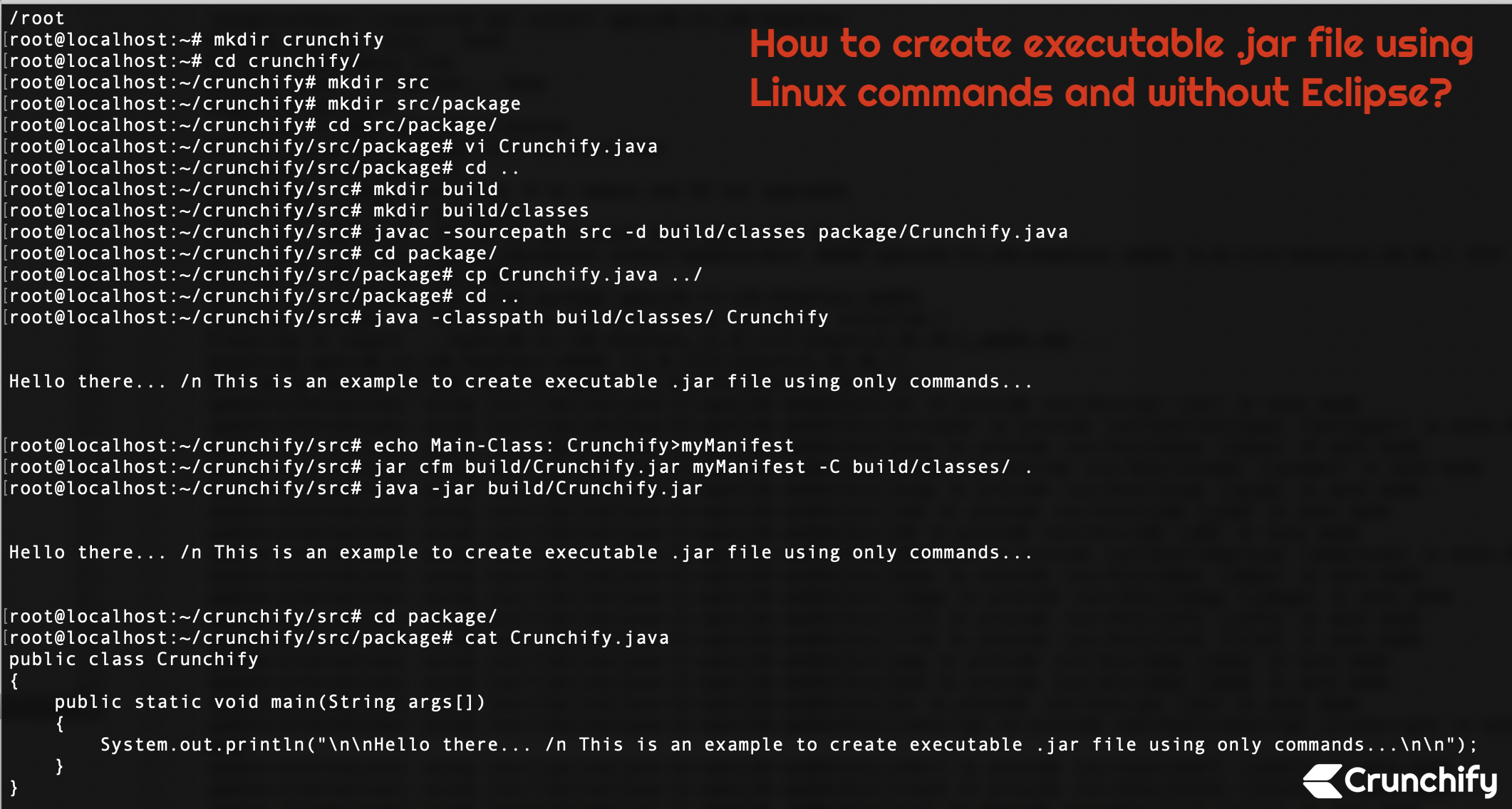 How to create executable  jar file using Linux commands and