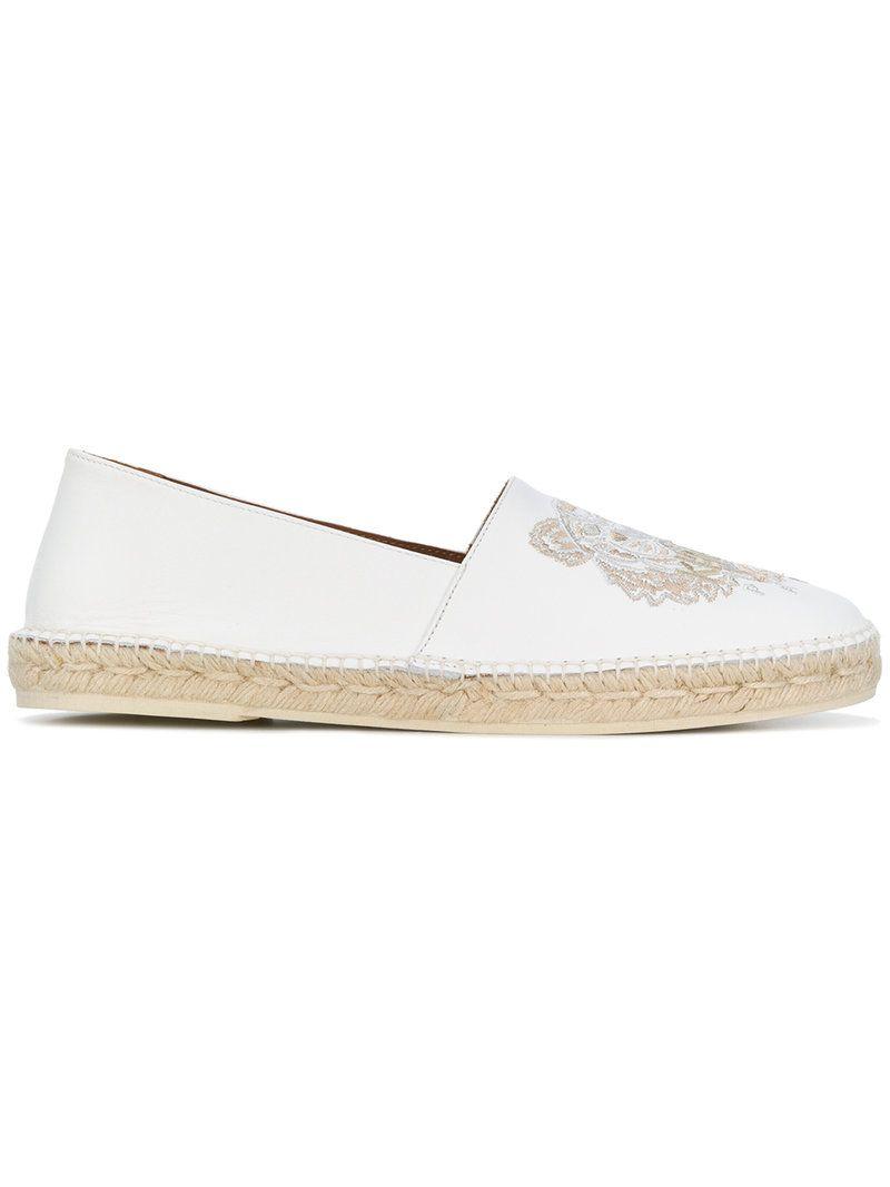 7102fecf KENZO TIGER EMBROIDERED ESPADRILLES. #kenzo #shoes # Kenzo, White Leather,  Espadrilles