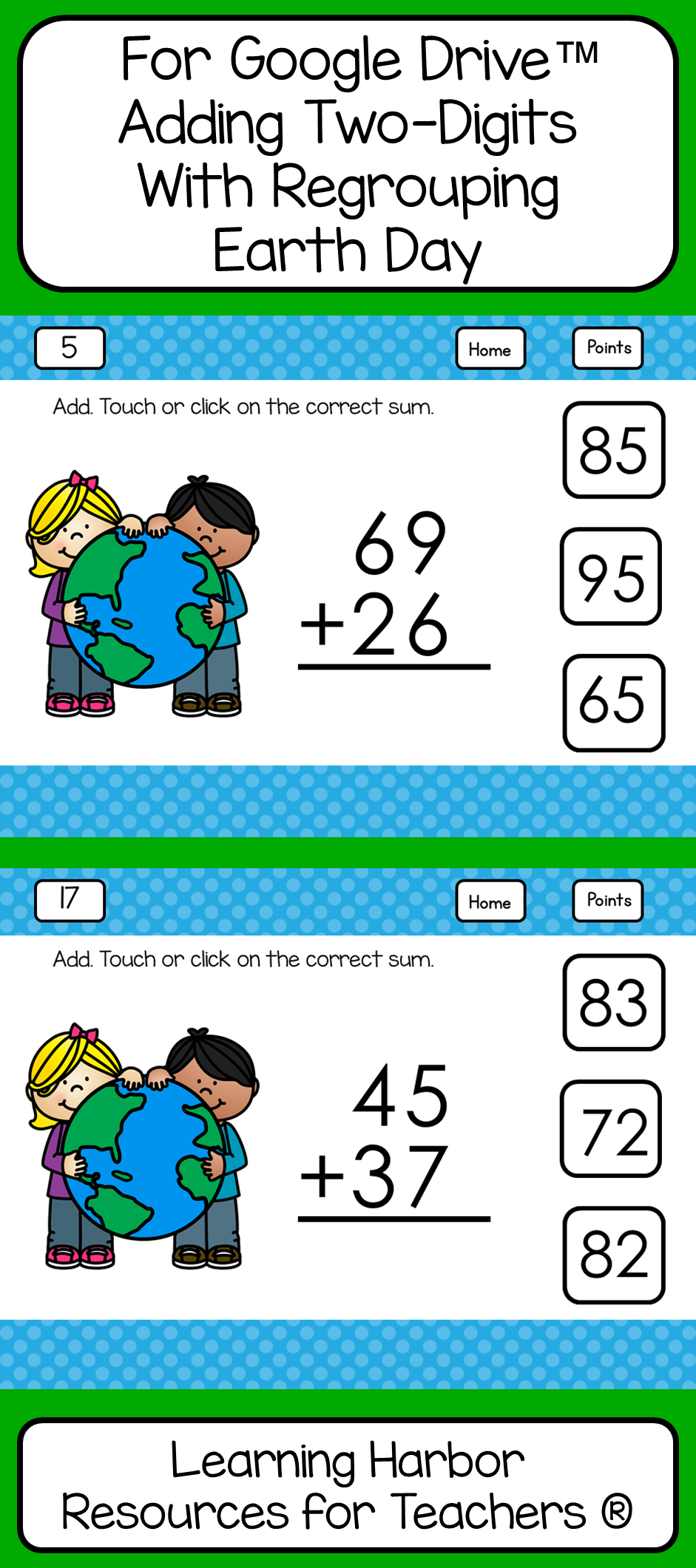 Adding Two-Digit Numbers With Regrouping Earth Day for Google Drive ...