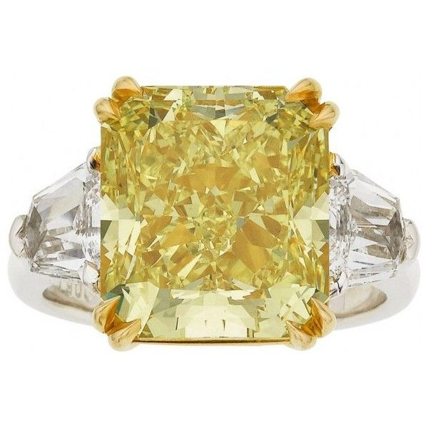 10 Carat Yellow Diamond Ring Leads Heritage Auctions Jewelry Sale Liked On Polyvore Yellow Diamond Rings Yellow Diamond Diamond