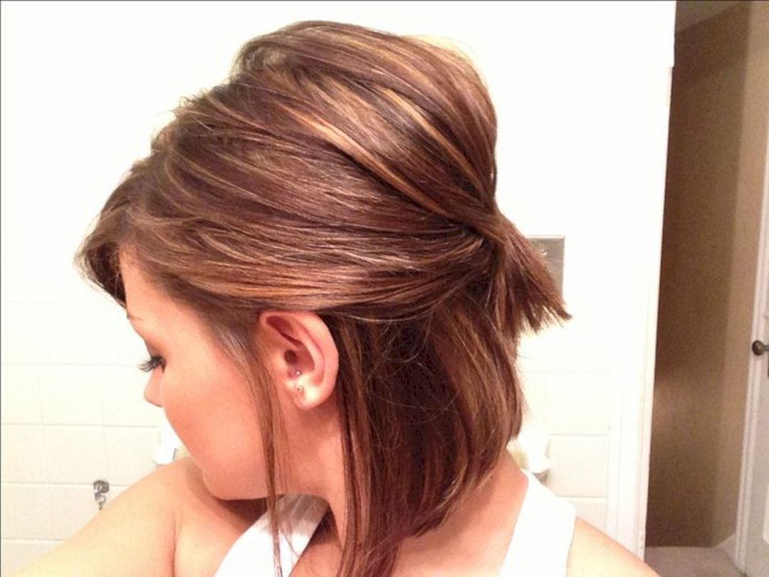 Short Hair Half Updo Hairstyle Half Updo Hairstyles Half Updo And