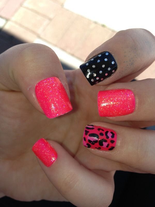 A Cute Hot Pink And Black Nail Design For A Summer Look Nails
