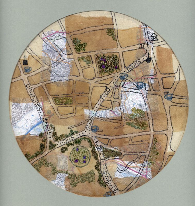 Landscaping Oxton Village map art quilt by